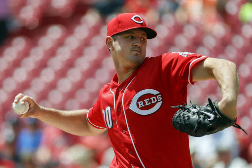 Cincinnati Reds starting pitcher Tyler Mahle throws in the first inning of a baseball game against the Detroit Tigers, Wednesday, June 20, 2018, in Cincinnati. (AP Photo/John Minchillo)