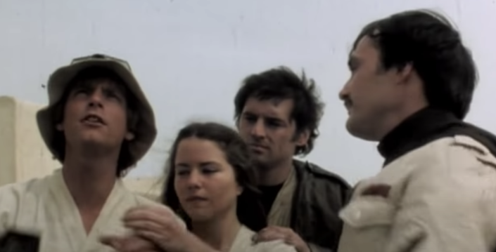 from l to r: Hamill as Luke Skywalker, Koo Stark as Camie, Anthony Forrest as Fixer and Hagon as Biggs Darklighter in a deleted scene from 'Star Wars: A New Hope' (Photo: Lucasfilm/YouTube)