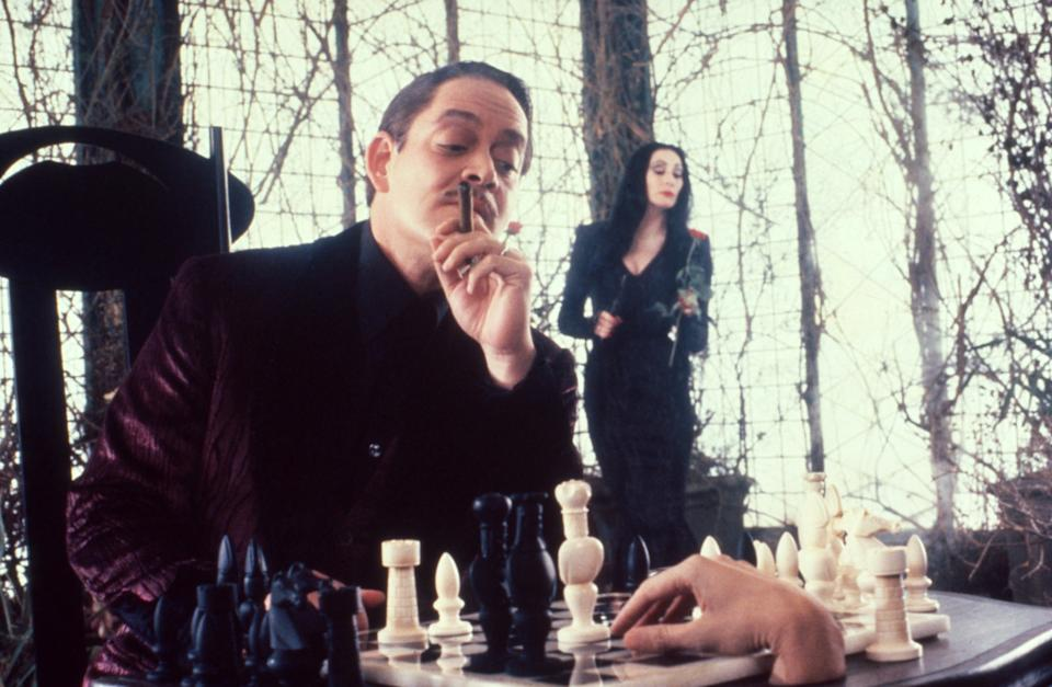Gomez (Raul Julia) and Morticia (Anjelica Huston) have a picture-perfect marriage in The Addams Family (Photo: Melinda Sue Gordon / © Paramount Pictures / Courtesy Everett Collection)