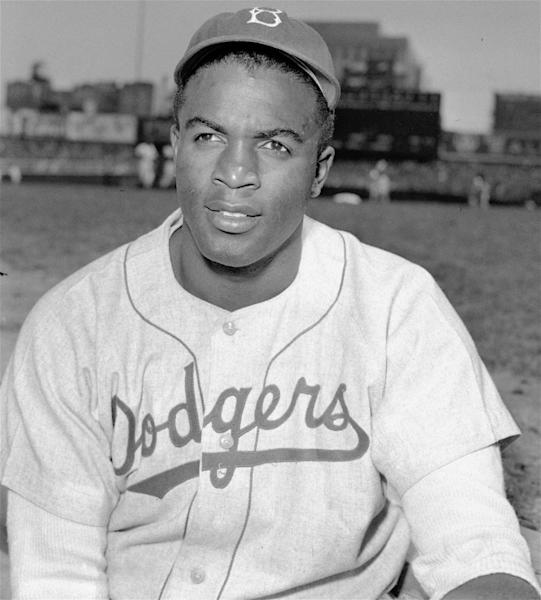 FILE - This is an April 18, 1948, portrait of Brooklyn Dodgers baseball player Jackie Robinson. The first statue in Dodger Stadium history belongs to Jackie Robinson. The team will unveil his likeness during Jackie Robinson Day festivities on Saturday, April 15, 2017, with his wife and extended family in attendance on the 70th anniversary of him breaking baseball's color barrier (AP Photo/File)