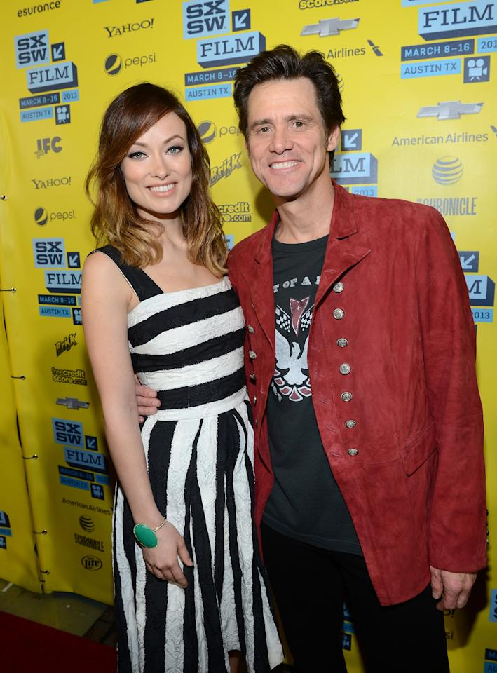 "AUSTIN, TX - MARCH 08:  Actress Olivia Wilde (L) and actor Jim Carrey arrive at the screening of ""The Incredible Burt Wonderstone"" during the 2013 SXSW Music, Film + Interactive Festival  at the Paramount Theatre on March 8, 2013 in Austin, Texas.  (Photo by Michael Buckner/Getty Images)"