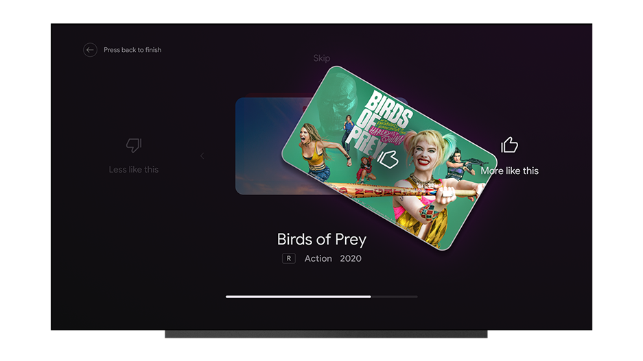 An image showing the new Android TV Tune Your Recommendations feature. The screen shows an off-kilter thumbnail of the movie