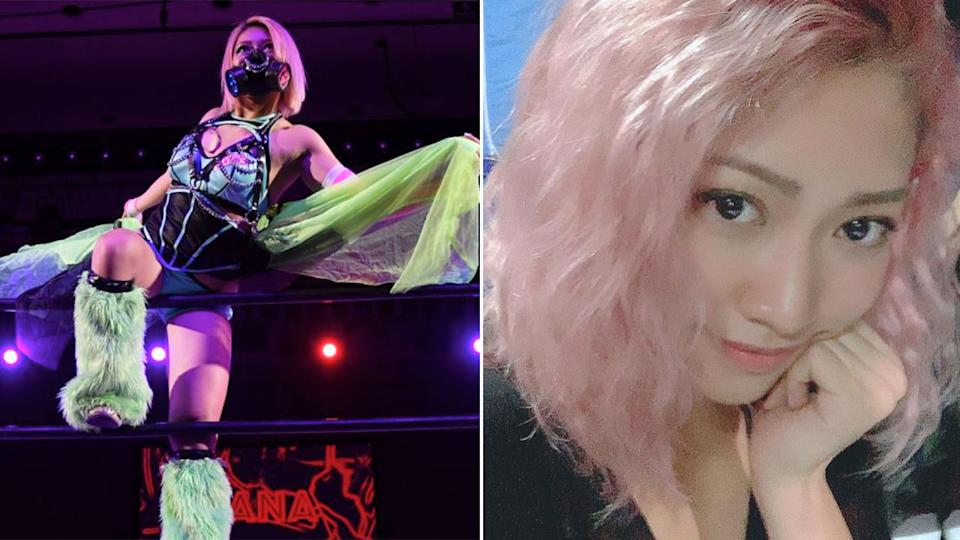 Pictured here, Japanese wrestler Hana Kimura who has died at the age of 22.