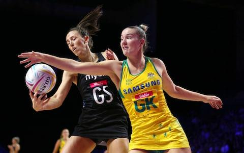 New Zealand's Bailey Mes (left) and Australia's Courtney Bruce battle for the ball during the Netball World Cup match at the M&S Bank Arena, Liverpool. PRESS ASSOCIATION Photo. Picture date: Thursday July 18, 2019. - Credit:  PA