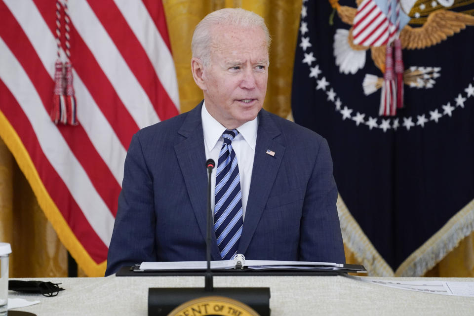 President Joe Biden speaks during a meeting about cybersecurity, in the East Room of the White House, Wednesday, Aug. 25, 2021, in Washington. (AP Photo/Evan Vucci)