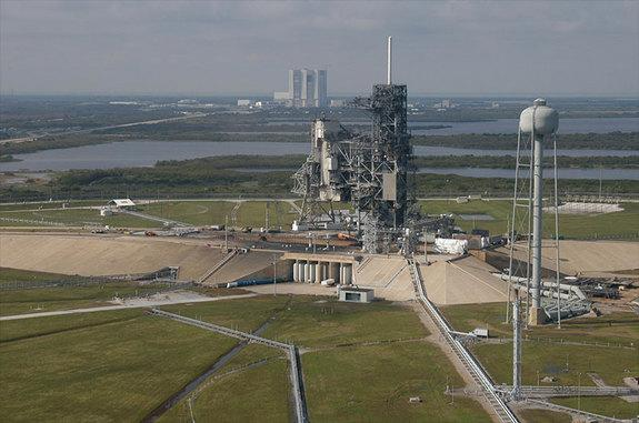 Aerial view of Launch Pad 39A at NASA's Kennedy Space Center in Florida. NASA has chosen SpaceX to negotiate a lease for use of the historic complex to launch the company's rockets.