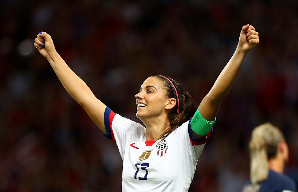 PARIS, FRANCE - JUNE 28:  Alex Morgan of the USA celebrates following victory in the 2019 FIFA Women's World Cup France Quarter Final match between France and USA at Parc des Princes on June 28, 2019 in Paris, France. (Photo by Matthew Lewis - FIFA/FIFA via Getty Images)