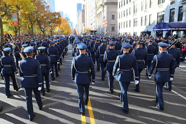 <p>The U.S. Air Force marches during the 91st Macy's Thanksgiving Day Parade in New York, Nov. 23, 2017. (Photo: Gordon Donovan/Yahoo News) </p>