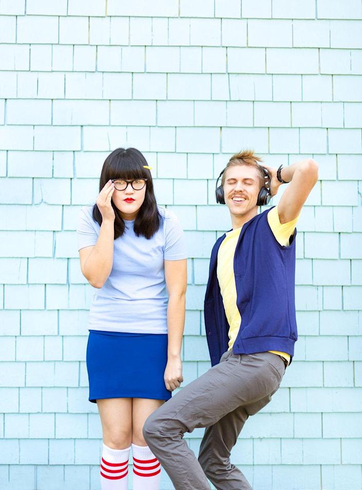 """<p>If you're ready for the charm bomb to explode, then you'll want to dress up as Tina Belcher and her crush, Jimmy Pesto Jr., from <em>Bob's Burgers</em>. </p><p><strong><em><a href=""""http://www.awwsam.com/2017/10/happy-halloween.html"""" rel=""""nofollow noopener"""" target=""""_blank"""" data-ylk=""""slk:Get the tutorial at Aww Sam"""" class=""""link rapid-noclick-resp"""">Get the tutorial at Aww Sam</a>. </em></strong></p>"""