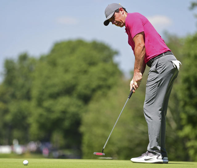 Rory McIlroy, from Northern Ireland, watches his putt on the fourth hole during the third round of the Bridgestone Invitational golf tournament at Firestone Country Club, Saturday, Aug. 4, 2018, in Akron, Ohio. (AP Photo/David Dermer)