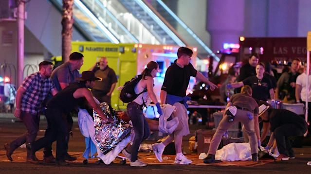 Eyewitnesses to Sunday night's deadly Las Vegas shooting described hearing rapid gunfire while singer Jason Aldean performed at the Route 91 Harvest Festival.