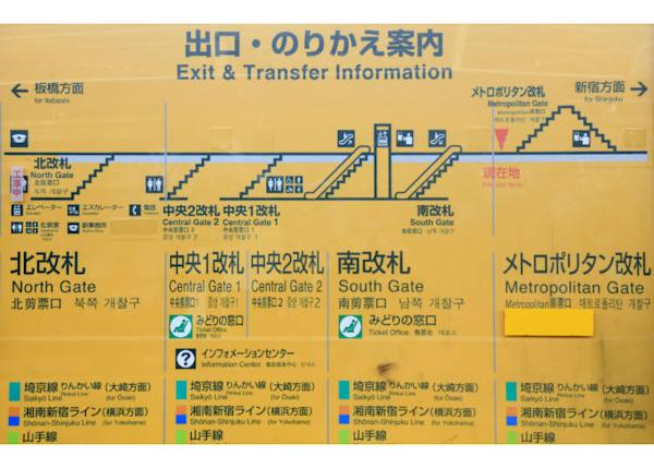 The exit and transfer information at JR's platforms.