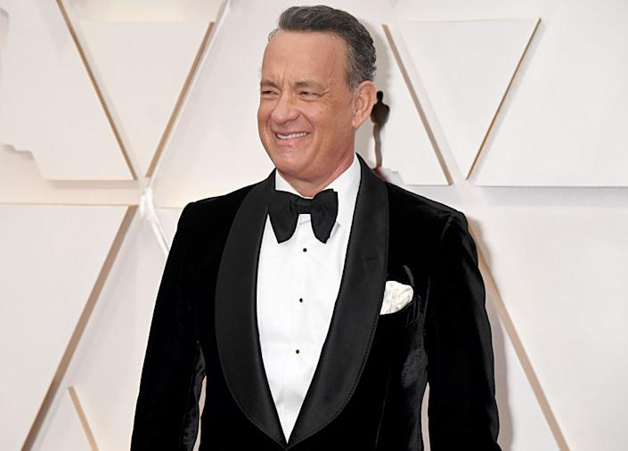 Tom Hanks has described his symptoms while suffering from COVID-19, pictured at the Academy Awards, February 2020.  (Getty Images)