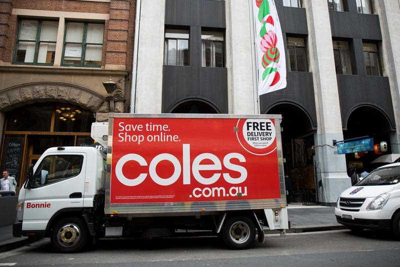 A Coles delivery truck is pictured in Sydney.