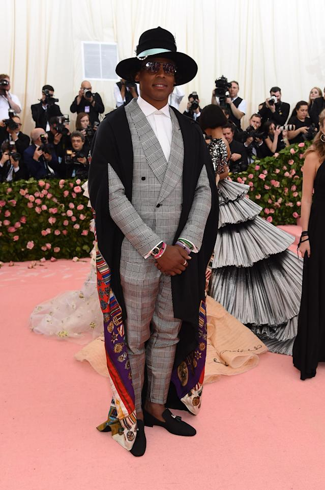 Cam Newton attends The 2019 Met Gala Celebrating Camp: Notes on Fashion at Metropolitan Museum of Art on May 06, 2019 in New York City. (Photo by Jamie McCarthy/Getty Images)