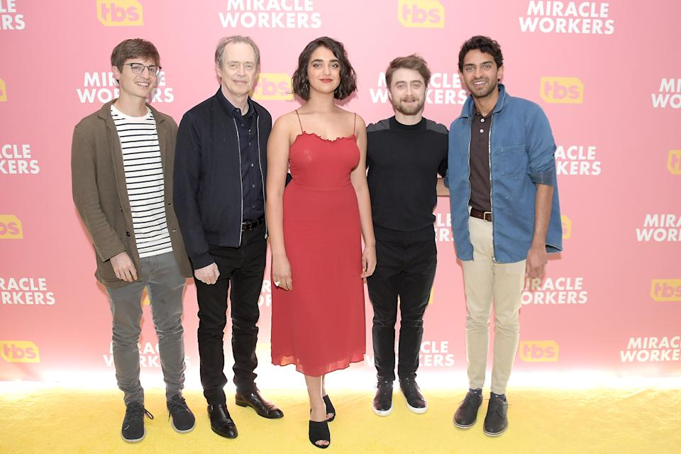 NEW YORK, NEW YORK - MAY 14: (L-R) Creator and executive producer Simon Rich and actors Steve Buscemi, Geraldine Viswanathan, Daniel Radcliffe and Karan Soni attend a screening and conversation for