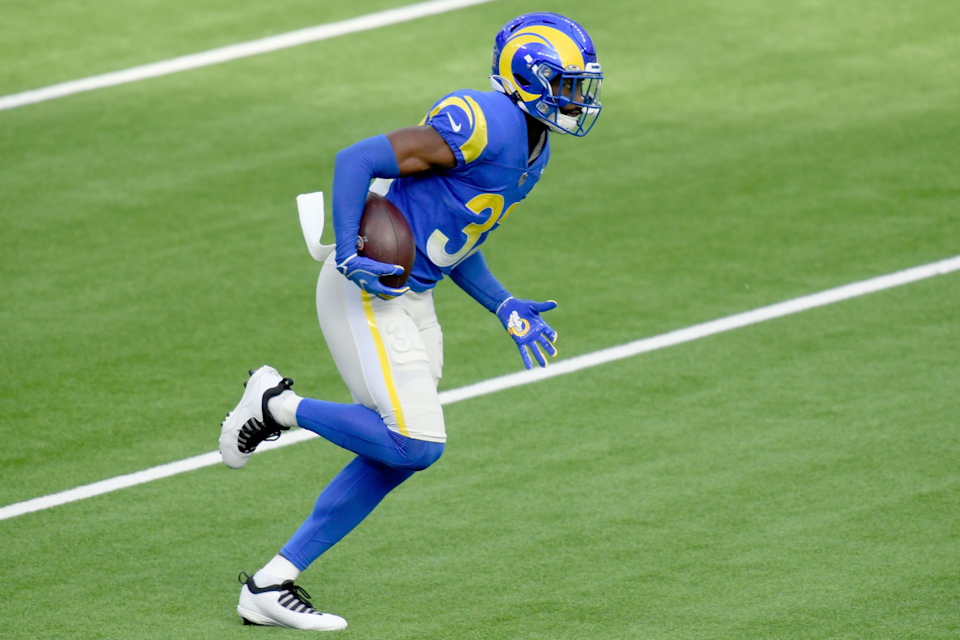 Rams safety Jordan Fuller warms up before a game against the Seattle Seahawks on Nov. 15.