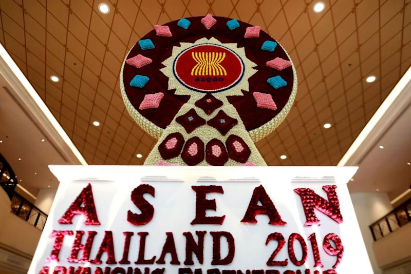 The Asean logo, made out of flowers, is seen before the 34th Asean Summit takes place, in Bangkok, Thailand June 19, 2019. — Reuters pic