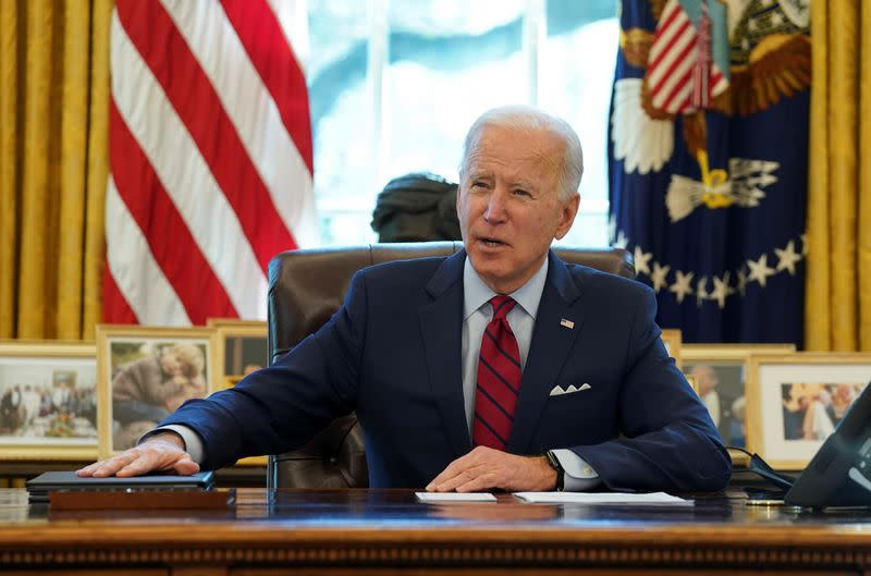 FILE PHOTO: U.S. President Biden signs executive orders on access to affordable healthcare in Washington