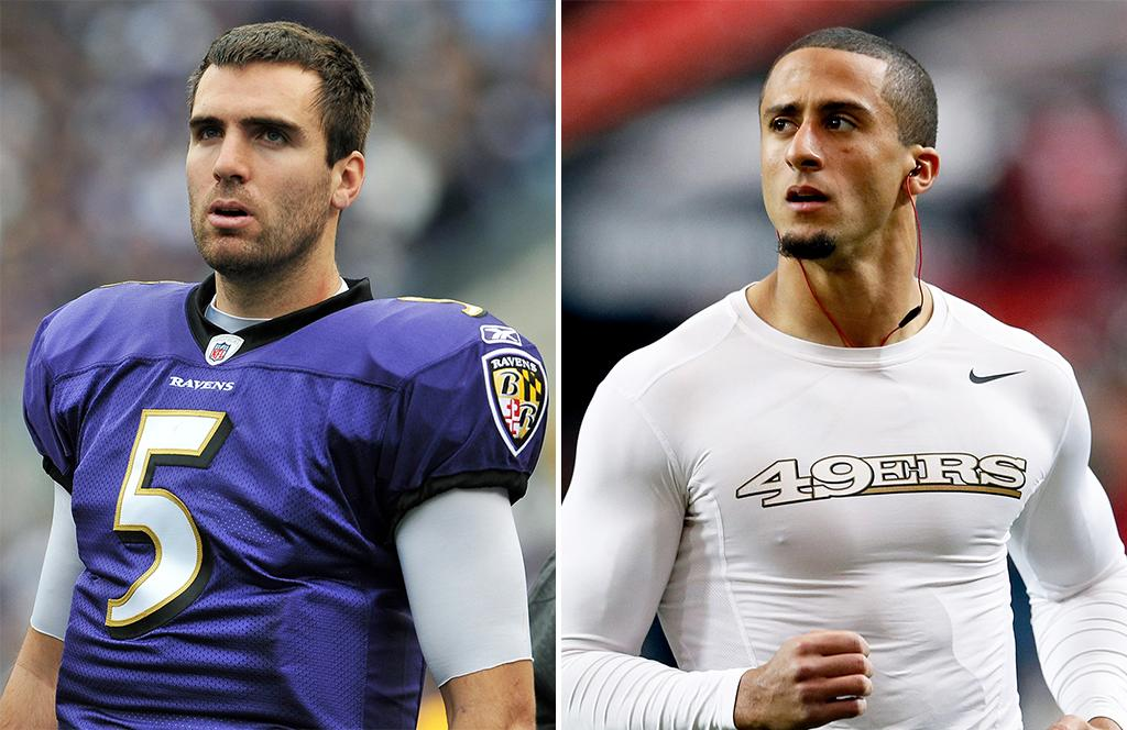 "The QT on the QB. Both newbies in football's biggest game, the Baltimore Ravens' Joe Flacco may be more of a known entity, but the 49ers' Colin Kaepernick is dominating the QB searches: Queries for ""colin kaepernick"" (and the misspelling ""colin kapernick"") outnumber ""joe flacco"" four to one. Add up those related queries, though, and the ranking changes: Flacco queries are pretty much strictly business (""joe flacco stats"") except for curiosity about those wedding photos, whereas people want to know about Kaepernick's ethnicity, those tattoos, and the wedgie statue. But throw in those look-ups about Flacco's negotiations for a salary boost ($20 million contract?) and then the Baltimore QB's overall buzz gets boosted too, about four times that of Kaepernick's."