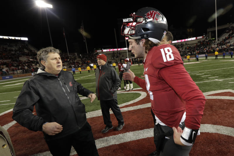 Washington State quarterback Anthony Gordon has thrived under coach Mike Leach. (AP Photo/Ted S. Warren)