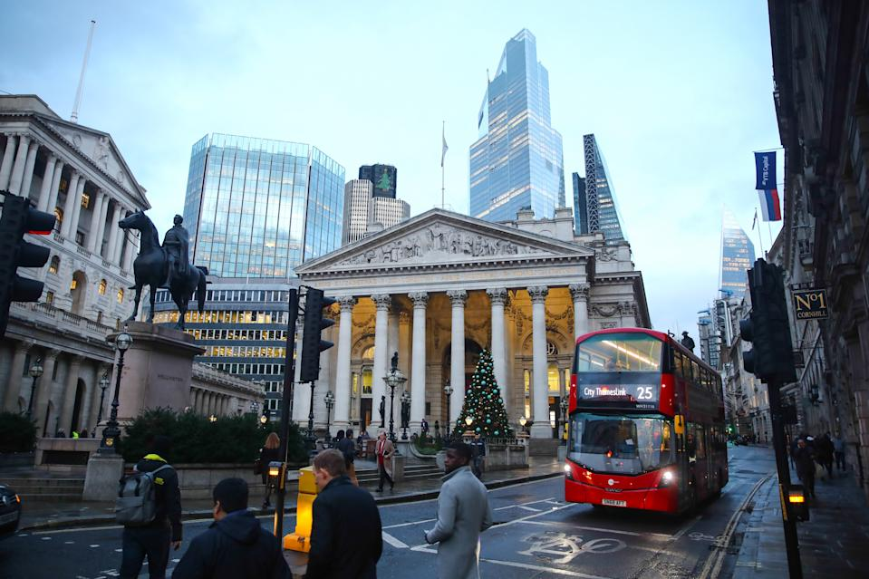 Royal Exchange and skyscrapers at CIty of London financial district in London, Great Britain on December 11, 2019. (Photo by Jakub Porzycki/NurPhoto via Getty Images)