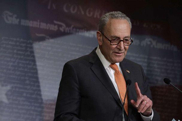 PHOTO: Senate Minority Leader Sen. Chuck Schumer speaks during a news briefing at the Capitol Hill, May 12, 2020 in Washington. (Alex Wong/Getty Images, FILE)