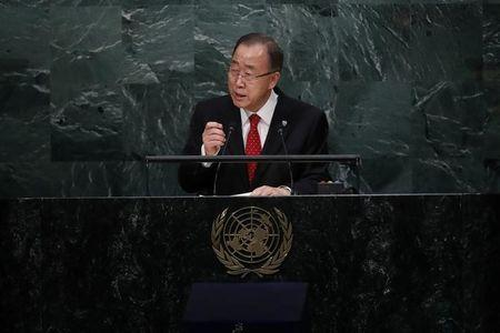 UN Secretary-General Ban Ki-moon speaks before the swearing-in of Secretary-General-designate Mr. Antonio Guterres of Portugal at UN headquarters in New York