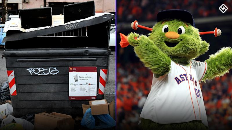 A's subtly troll Astros by putting cutout of mascot in trash can