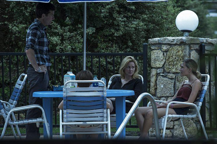 Jason Bateman as Marty Byrde, Skylar Gaertner as Jonah, Laura Linney as Wendy Byrde and Sofia Hublitz as Charlotte in Netflix's Ozark.
