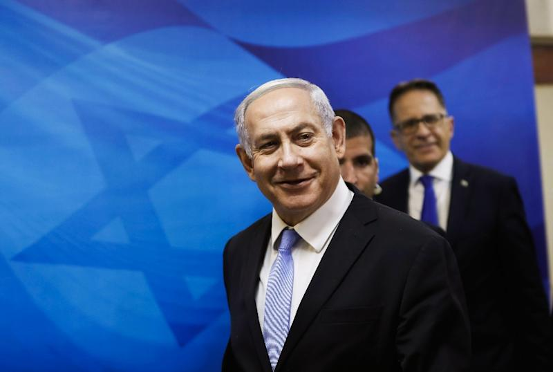 """The prosecutor's office said Israeli Prime Minister Benjamin Netanyahu (pictured June 2, 2019) had requested the hearing be delayed """"due to the dissolution of Knesset"""" and the September elections (AFP Photo/RONEN ZVULUN)"""