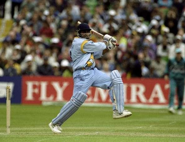 12 Jun 1999: Ajay Jadeja of India on his way to 76 against New Zealand in the World Cup Super Six match at Trent Bridge in Nottingham, England. New Zealand won by 5 wickets to go through to the semi-finals. \ Mandatory Credit: Ross Kinnaird /Allsport