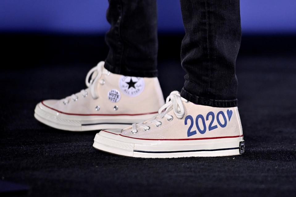 Kamala Harris wears customized Converse Chuck Taylor sneakers in October. (Reuters/David Becker)