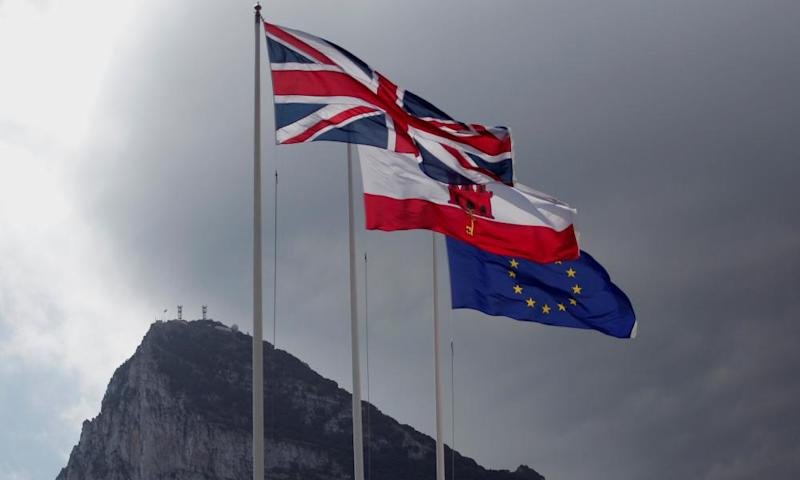 UK, Gibraltar and EU flags