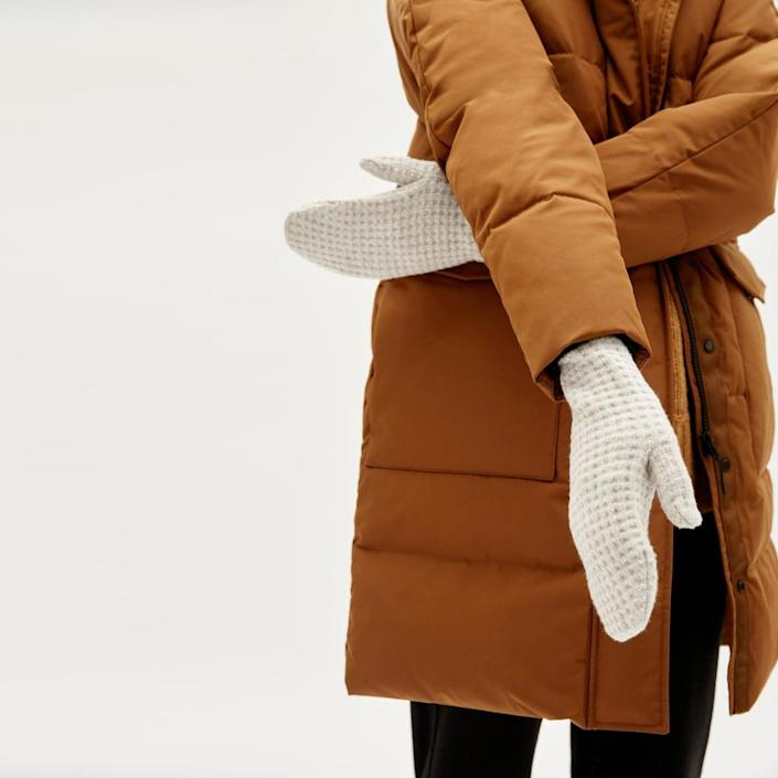 <p>Help them stay warm with the <span>Everlane Belgian-Waffle Wool Mittens</span> ($38).</p>