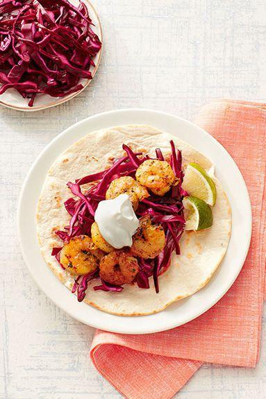 """<p>Taco night is no problem when the cleanup is this quick and easy.</p><p><em><a href=""""https://www.goodhousekeeping.com/food-recipes/a15320/skillet-shrimp-tacos-recipe-ghk0215/"""" rel=""""nofollow noopener"""" target=""""_blank"""" data-ylk=""""slk:Get the recipe for Skillet Shrimp Tacos »"""" class=""""link rapid-noclick-resp"""">Get the recipe for Skillet Shrimp Tacos »</a></em><br></p>"""