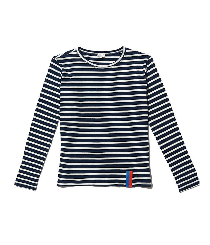 "<p></p><p><span>The Modern Long in Navy/Cream, $98, <a rel=""nofollow"" href=""https://www.kule.com/collections/modern-long/products/the-modern-long-navy-cream"">kule.com</a></span> </p><p></p>"