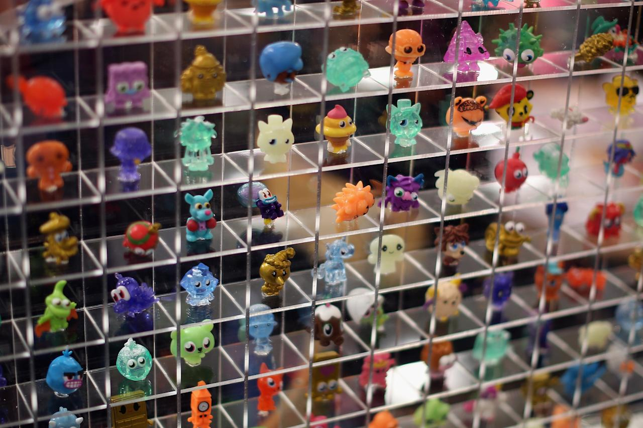 LONDON, ENGLAND - JANUARY 22:  A display of Moshi Monsters characters are displayed  during the 2013 London Toy Fair at Olympia Exhibition Centre on January 22, 2013 in London, England. The annual fair which is organised by the British Toy and Hobby Association, brings together toy manufacturers and retailers from around the world.  (Photo by Dan Kitwood/Getty Images)