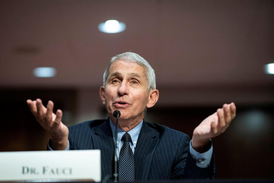 Anthony Fauci, director of the National Institute of Allergy and Infectious Diseases, speaks during a Senate Health, Education, Labor and Pensions Committee hearing in Washington, DC on 30 June 2020 ((Reuters))