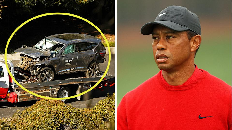 Tiger Woods (pictured right) during a tournament and his SUV after his crash (pictured left) last week in LA.