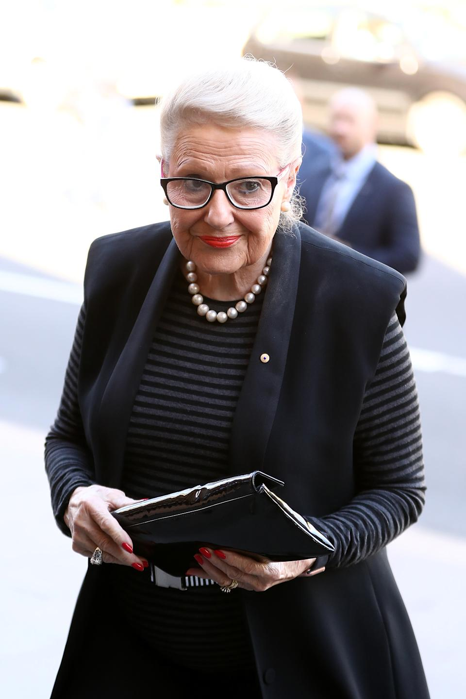Bronwyn Bishop attends the State Funeral for Carla Zampatti at St Mary's Cathedral on April 15, 2021 in Sydney, Australia.
