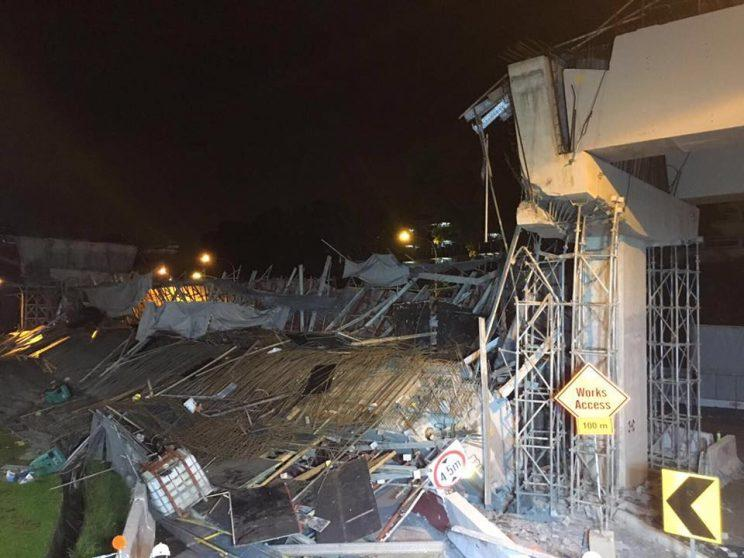 Structure on highway under construction collapses near PIE; 1 dead, 10 injured