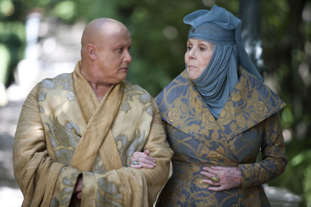 """Conleth Hill and Diana Rigg in the """"Game of Thrones"""" Season 3 episode, """"And Now His Watch Is Ended."""""""