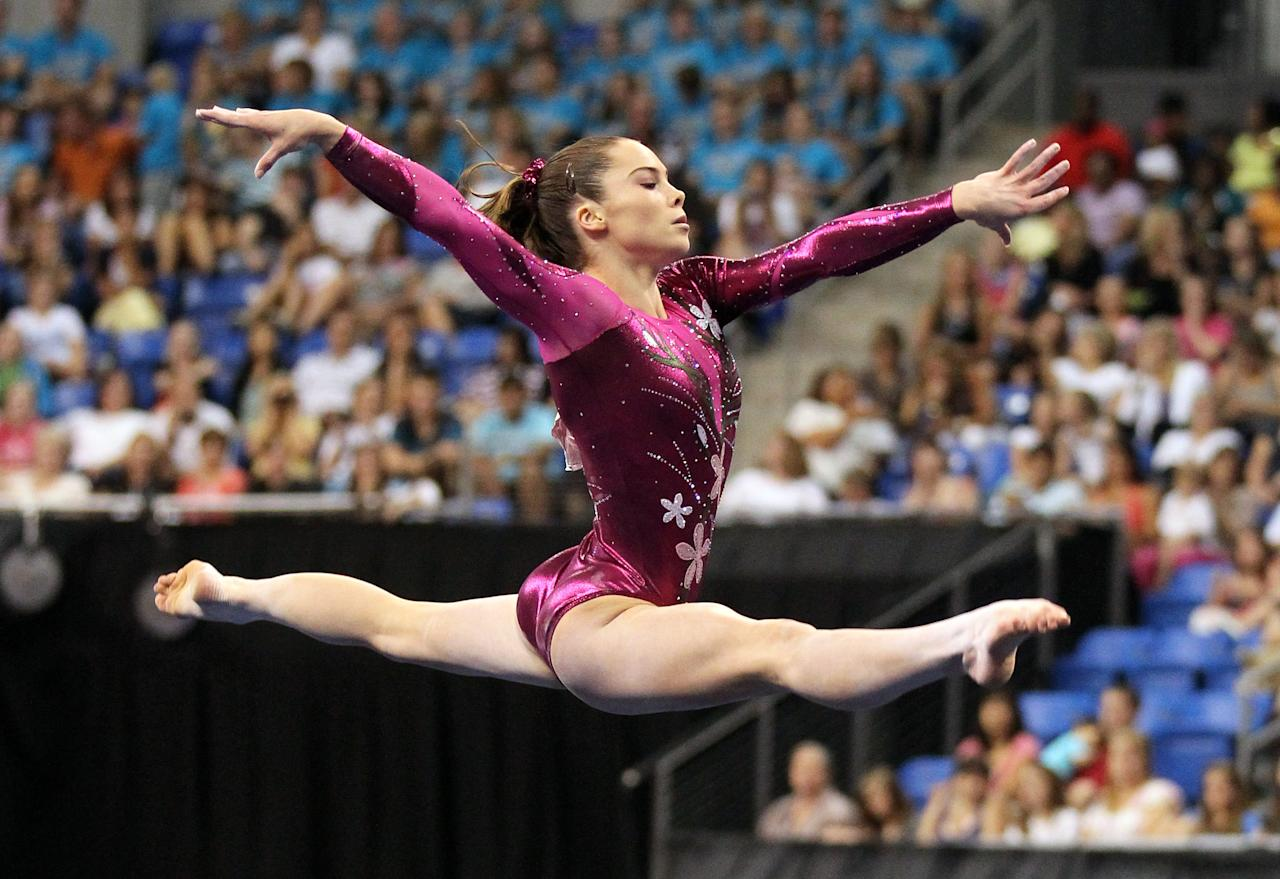 Jun 8, 2012; St. Louis, MO, USA; McKayla Maroney (USA) competes on the floor exercise during day one of the 2012 Visa Championships in womens gymnastics at Chaifetz Arena. Mandatory Credit: Stew Milne-US PRESSWIRE