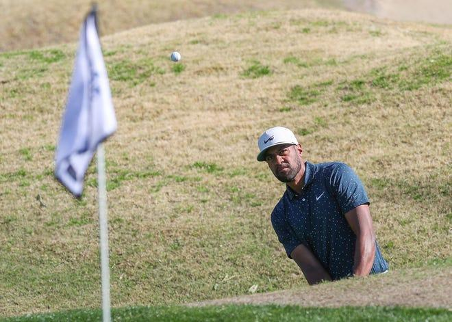 Tony Finau hits a shot on the 3rd hole of the Stadium Course during the American Express at PGA West in La Quinta, January 24, 2021.