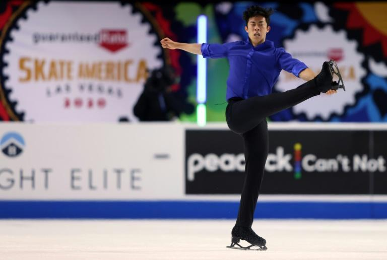 American Nathan Chen performs his gold medal winning routine in the free skate program during the ISU Skate America competition at the Orleans Arena in Las Vegas, Nevada