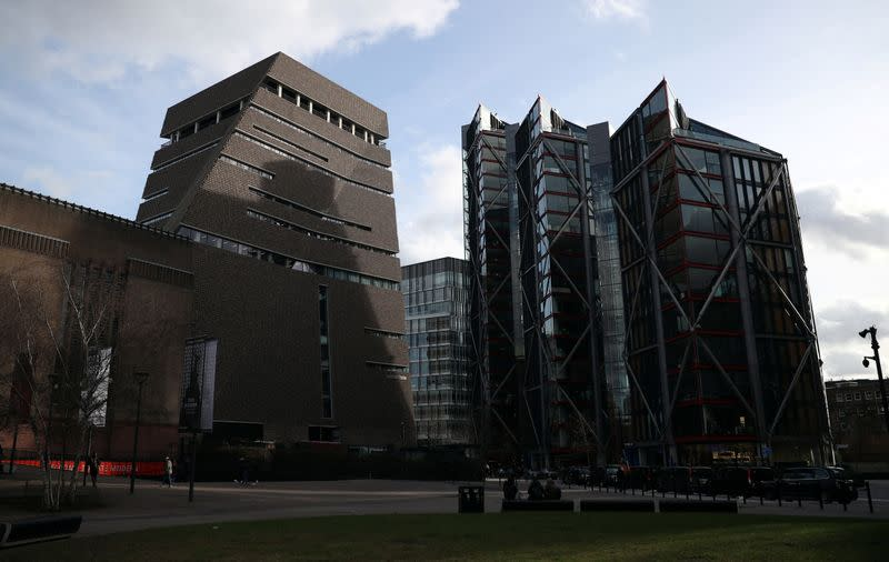 The Viewing Level at the Tate Modern gallery and a block of luxury residential flats are seen in London