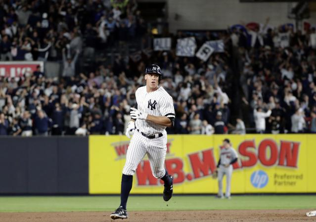 New York Yankees rookie Aaron Judge hit the first of what should be many postseason home runs on Tuesday night. (AP)