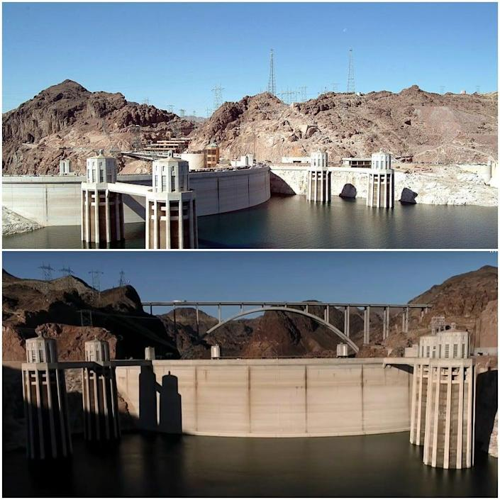 The top photograph shows water levels at Lake Mead in 2003 compared to this week (Getty/CBS News)