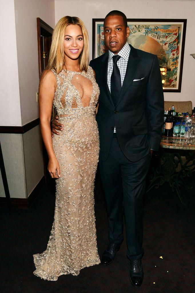 <p>The couple smiled for the cameras backstage of the screening for Beyoncé's documentary Life Is But A Dream at the premiere in New York City.</p>